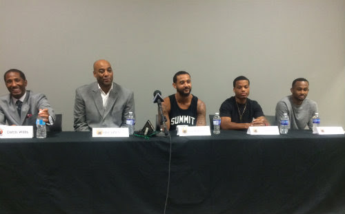 From left to right: Windsor Express President Dartis Willis, Head Coach Bill Jones, RJ Wells, Gary Gibson, and Karl Finley, Aug. 7, 2014. (photo courtesy Windsor Express)