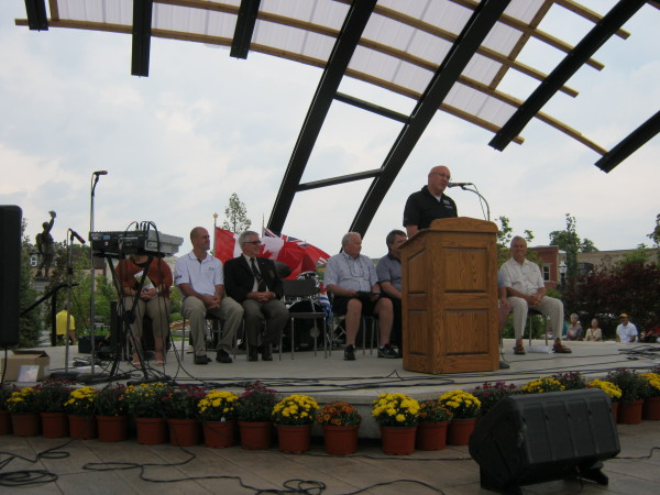 Goderich Mayor Deb Shewfelt speaking at the official re-opening of the Courthouse Park. August 30, 2014. (Photo by: Bob Montgomery)