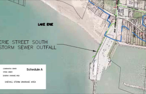 A map of the Erie St. S. Storm Sewer Outfall is seen in the Leamington Council agenda for August 25, 2014. (Still captured by Ricardo Veneza)