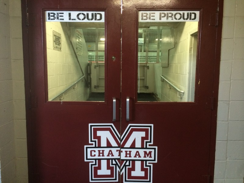 Doors painted with the Chatham Maroons crest lead to the ice Chatham Memorial Arena. Photo taken August 17, 2014. (Photo by Ricardo Veneza)