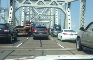 Traffic waiting to cross Blue Water Bridge. Submitted photo.