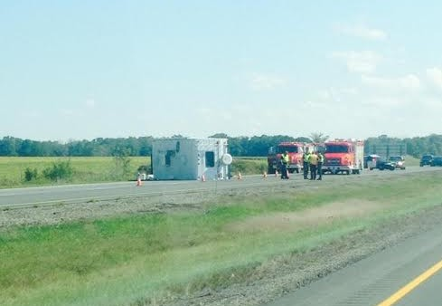 A RV rollover on the 401 in Rodney. Photo courtesy of Jennifer Lynn Hyslop via Facebook.