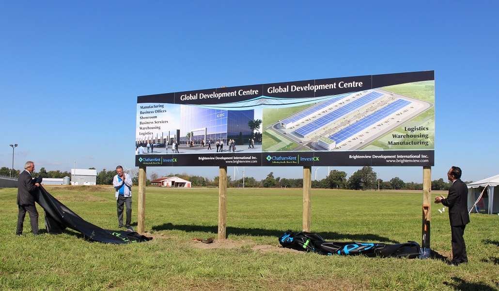 Unveiling the plans for the new Global Development Centre at the Blenheim Industrial Park. (Photo by Maureen Revait)