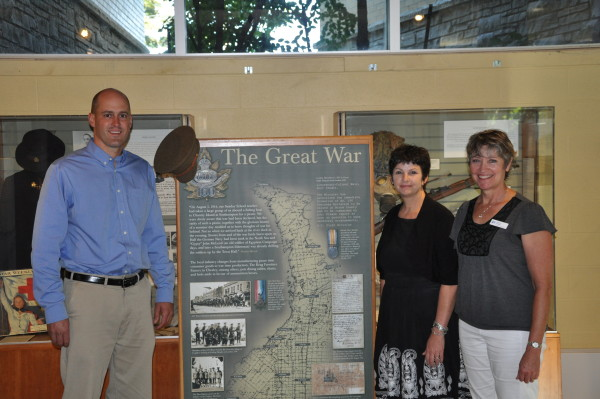 Pictured from left to right; Ben Lobb, M.P., Cathy McGirr, acting director at the Bruce County Museum, and Nancy White, coordinator of the WWI Remembrance project at the Bruce Museum. (Photo courtesy of Ben Lobb M.P., Huron-Bruce)