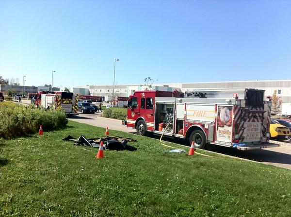 Fire crews at the scene of a chemical spill on Max Brose Dr. in London. September 3, 2014. (Photo by Ashton Patis)