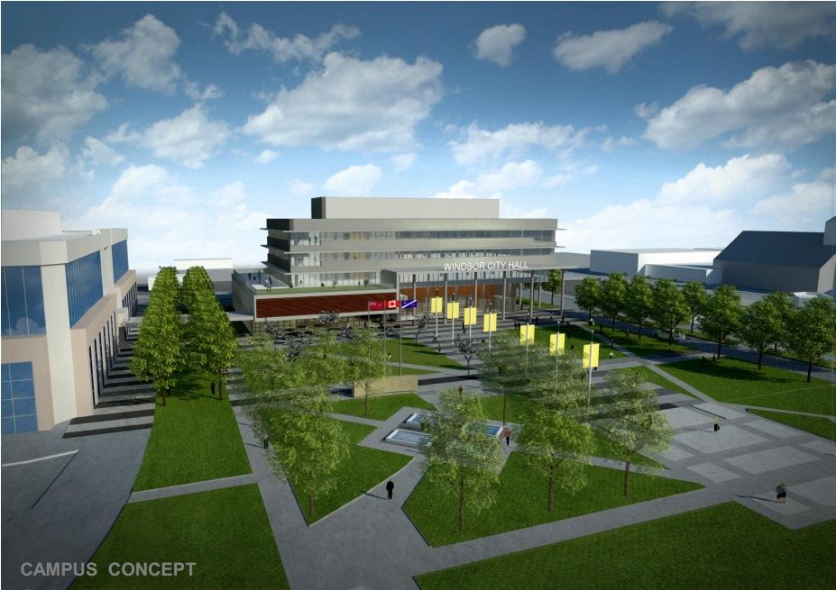 New Windsor City Hall design concept option 1, the Campus Concept. (Rendering provided by Moriyama & Teshima Architects)