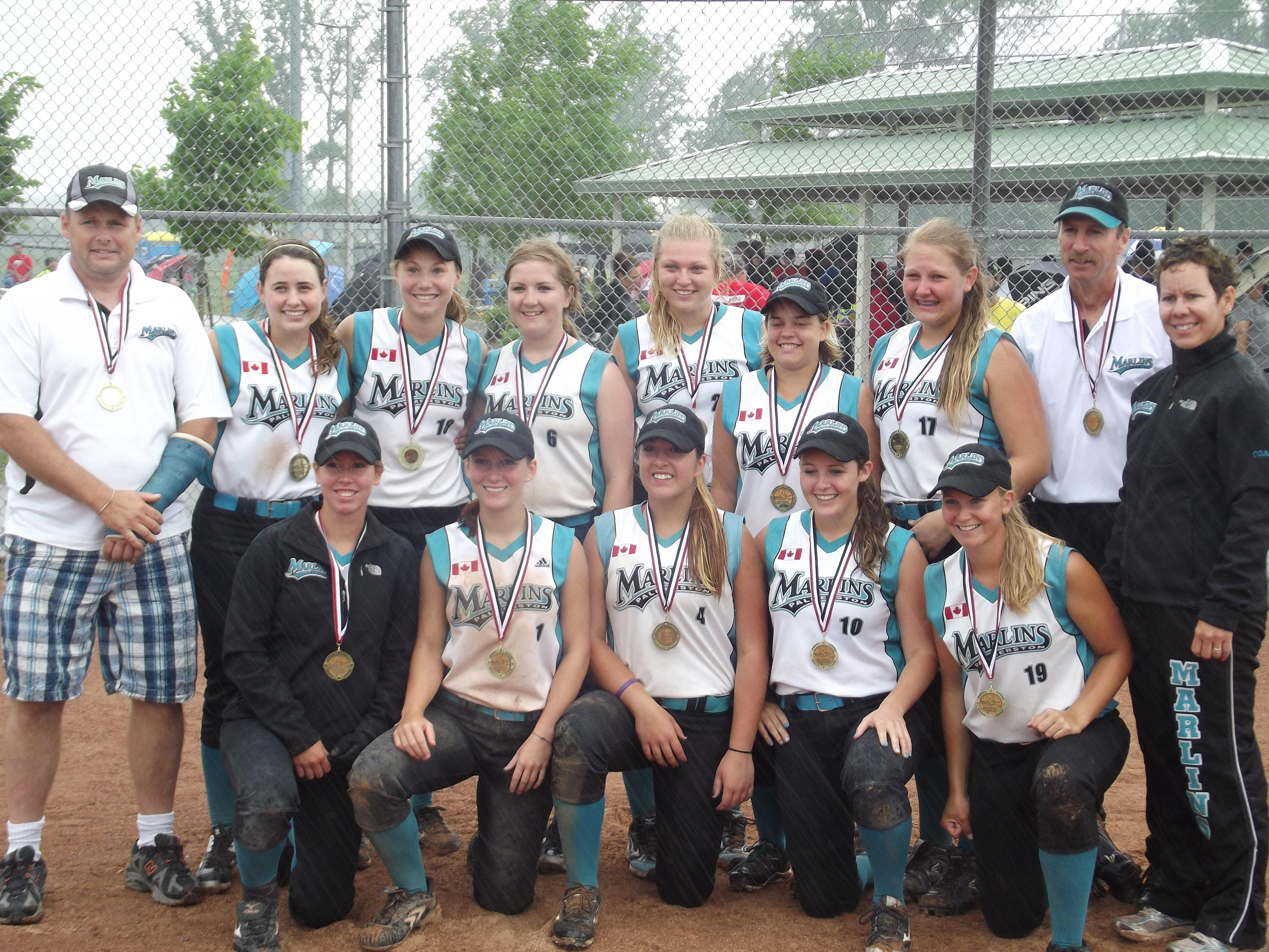 Mark Matheson (Second from right) with his Marlins girls team.(Photo submitted  by Emily Duck)