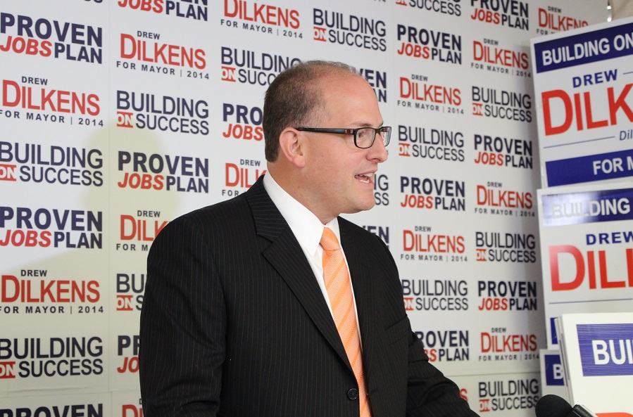 Windsor mayoral candidate Drew Dilkens presents the first part of his campaign platform, Sept. 19, 2014. (Photo by Maureen Revait).