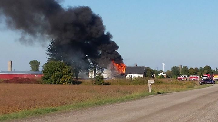 Firefighters respond to a house fire on Burk Line in Chatham-Kent, September 26, 2014. (Photo courtesy of Jeff Sanislo)