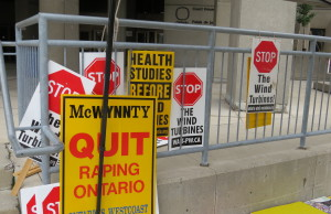 Wind Turbine protest outside of London's court house.  (Photo by Ashton Patis)