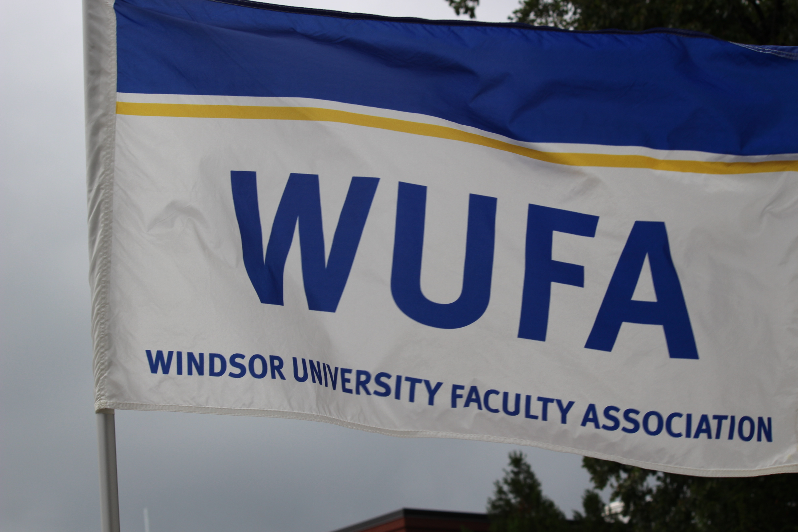 The Windsor University Faculty Association's flag. (Photo by Adelle Loiselle.)