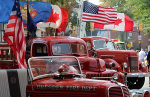 Historic fire trucks and ambulances are displayed at the 2014 FireFest in Chatham. (Photo by Jason Viau)