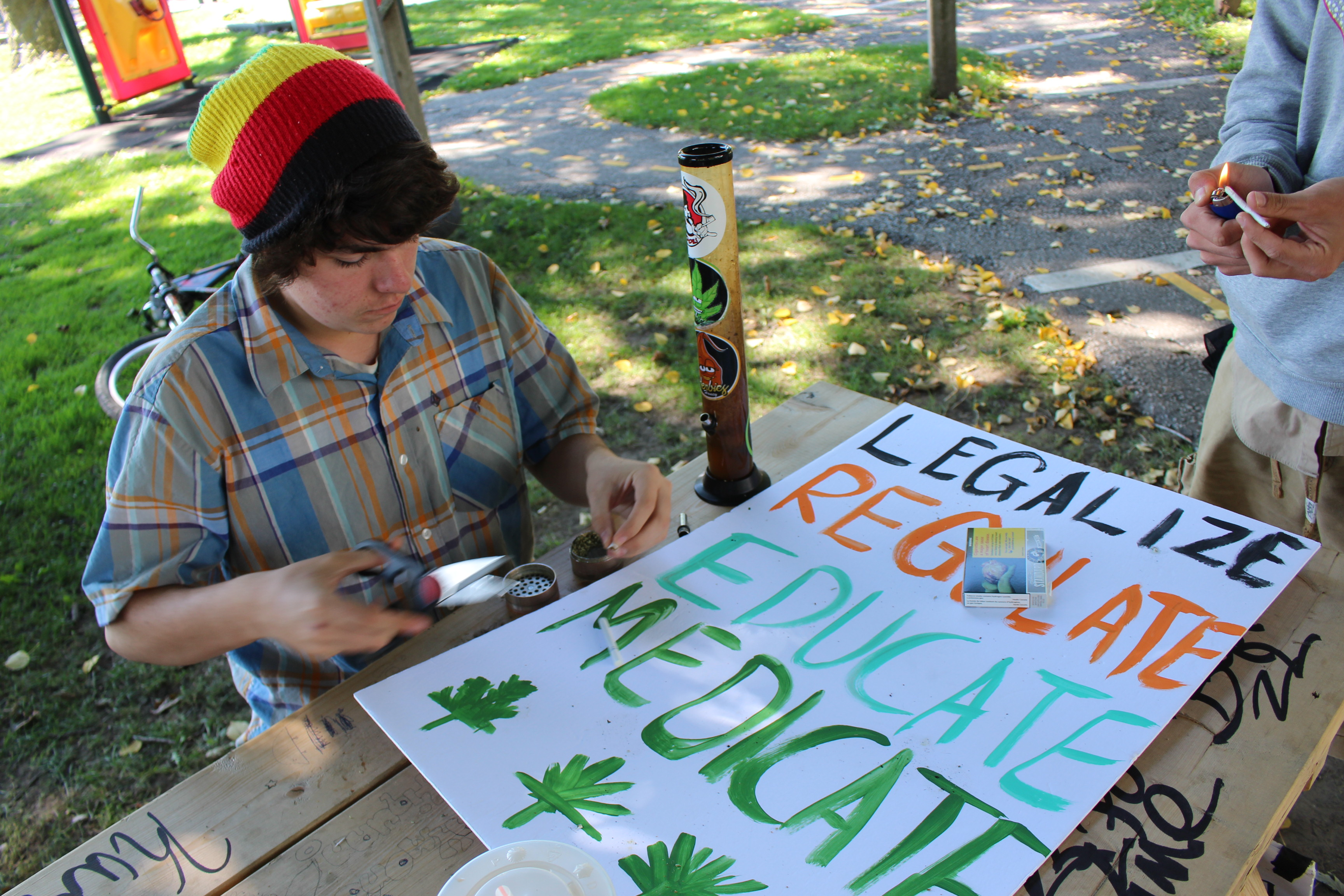 Dozens gather for the 2nd annual Windsor Marijuana March on September 27, 2014. (Photo by Jason Viau)