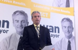 Joe Swan unveils his plan for job creation in London. September 12, 2014. Photo by Ashton Patis.