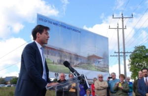 Health Minister Dr. Eric Hoskins in Markdale, announcing plans for a new Centre Grey Hospital. September 16, 2014. Photo by: Kirk Scott.