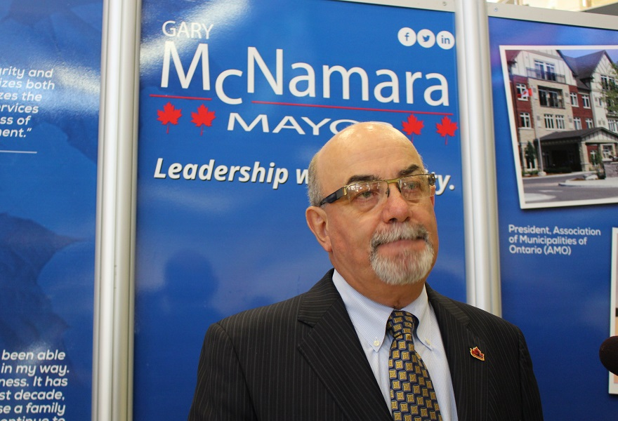 Tecumseh Mayor Gary McNamara launches his campaign for the 2014 municipal election. (Photo by Maureen Revait)