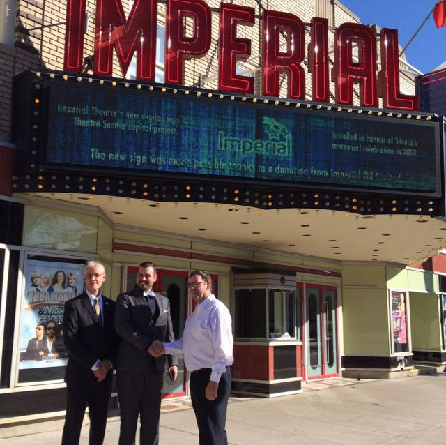 The Imperial Theatre's new electronic sign is unveiled Friday. (photo courtesy of Norm Francoeur via the Blackburn Radio App)