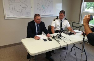 Det. Inspector Chris Avery (left) and Huron County OPP Detachment Commander Chris Martin (right) at news conference in Clinton. (photo by Ryan Brandt).