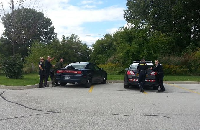 Police arrest one man after an incident in the area of the Howard Watson Nature Trail in Sarnia, September 14, 2014. (Contributed photo)