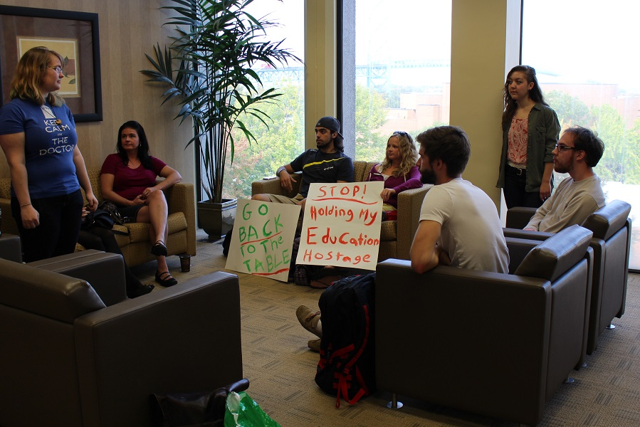Students sit-in at the University president's office to voice their concerns over the present labour dispute between administration and Windsor University Faculty Association. (Photo by Maureen Revait)