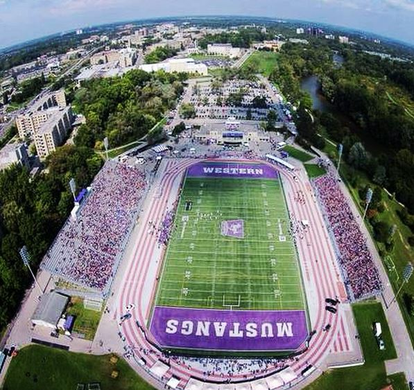 overhead view of TD Stadium during Mustangs game