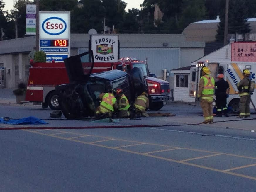 Emergency crews respond to a crash on Josephine St in Wingham, September 14, 2014. (Photo by Steve Sabourin)