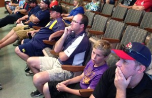 Baseball players concerned about the location of a proposed dog park gather in Sarnia Council Chambers, September 29, 2014 (BlackburnNews.com photo by Melanie Irwin)