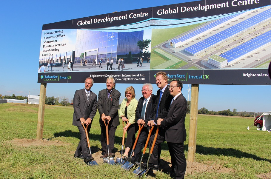 Ground breaking announcement of the new Global Development Centre to be built at the Blenheim Industrial Park. (Photo by Maureen Revait)