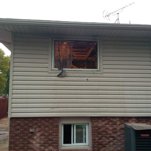 The scene of an arson in the 3100-block of Fairlane Cres. in Windsor. (photo courtesy of Windsor Fire)