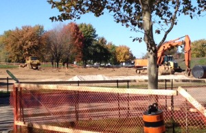 Phase one remediation of Centennial Park gets underway. October 23, 2014 (Blackburnnews.com photo by Jake Jeffrey)