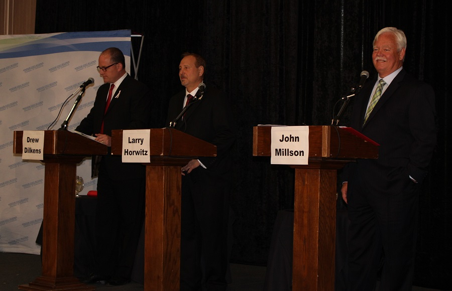 Windsor mayoral candidates Drew Dilkens, Larry Horwitz and John Millson participate in the Windsor-Essex Regional Chamber of Commerce debate, Oct. 8, 2014. (Photo by Maureen Revait)