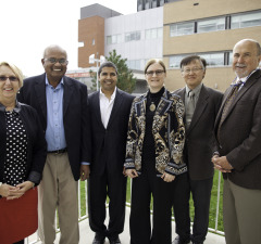 Pictured:  Michele Grzebien-Huckson, Executive Director, Foundation of CKHA; Dr. Cassie Harnarine, Chair, Board of Directors, Foundation of CKHA; Dr. Victor Varma, Dr. Pat Tomney and Dr. Main Yee, Radiologists, CKHA, and Colin Patey, President & CEO, CKHA. Photo courtesy of CKHA