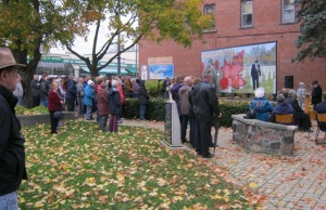 The Village of Arthur unveiled the latest of four downtown murals Saturday morning at the village Cenotaph.(Photo by Campbell Cork)