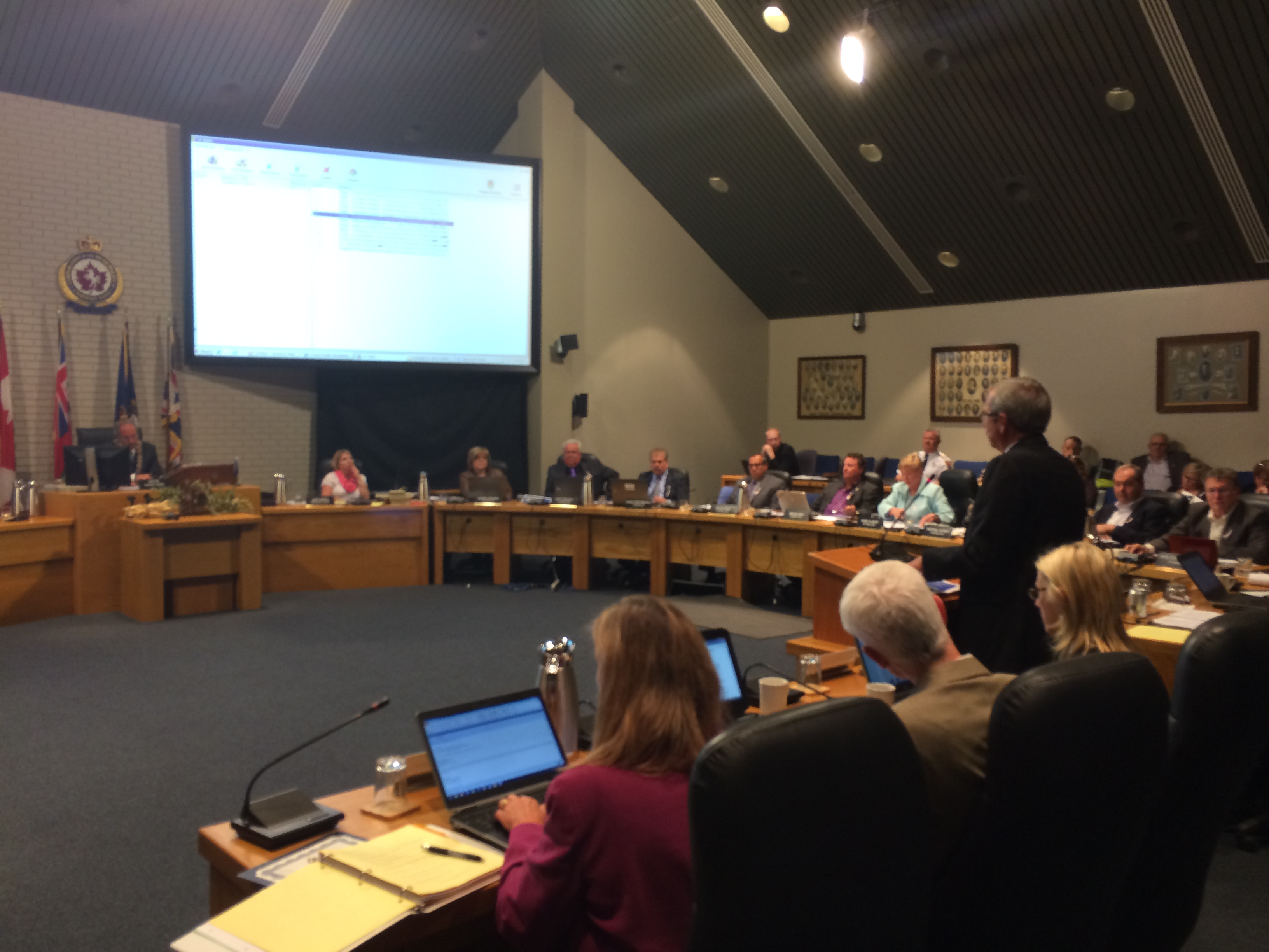Chatham-Kent Director of Economic Development Michael Burton stands at the regular council meeting on October 6, 2014 to give his second quarter operations report for the John D. Bradley Convention Centre. (Photo by Ricardo Veneza)