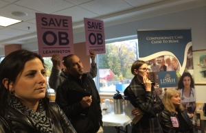 The planned closure of the obstetrics ward at Leamington District Memorial Hospital brings many residents to a public forum on October 29, 2014. (Photo by Ricardo Veneza)
