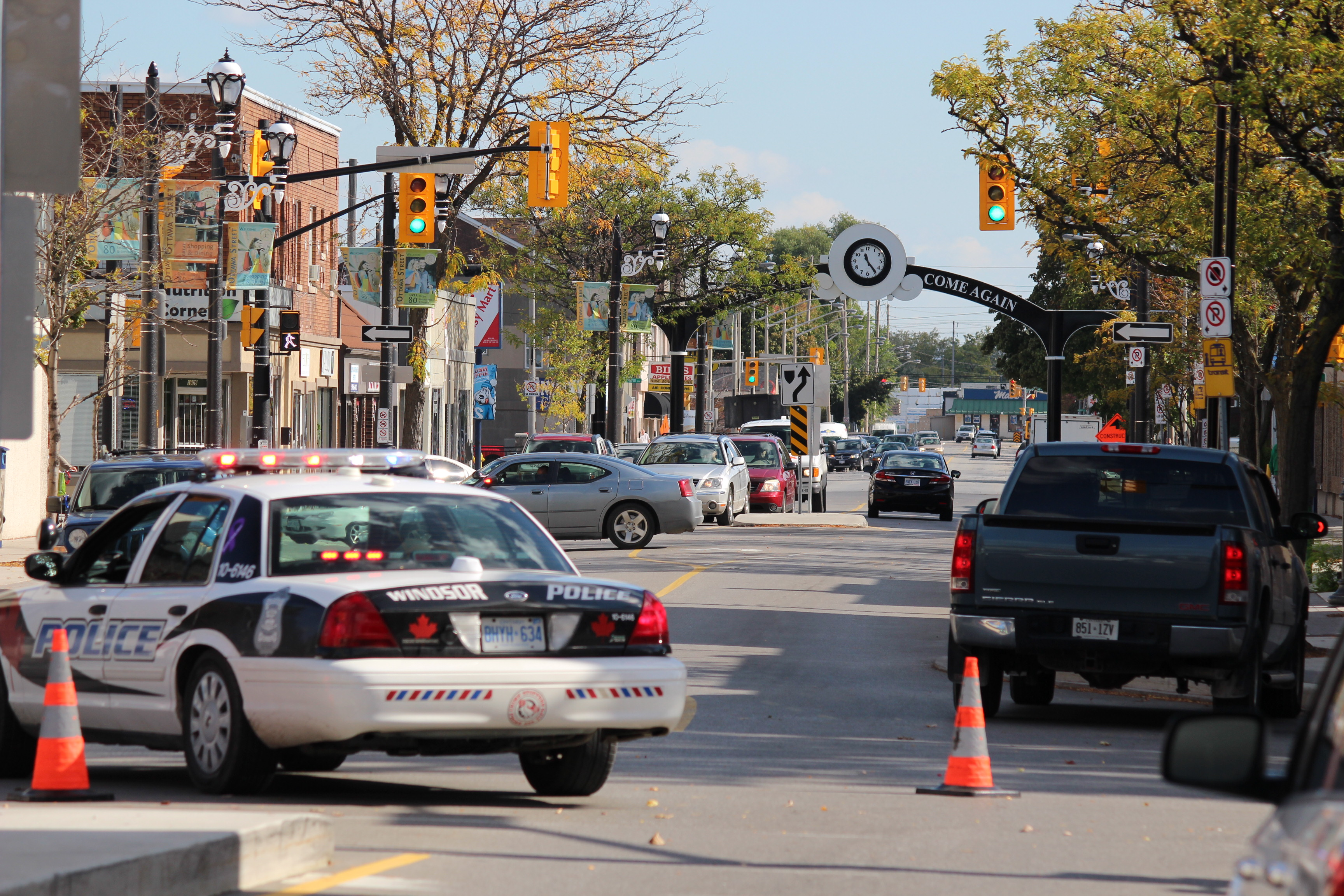 Windsor police investigate after a pedestrian was struck at the intersection of Ottawa St. and Gladstone Ave. (Photo by Jason Viau)