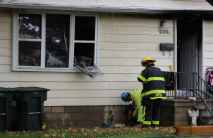 Fire broke out at a home in the 2100 block of Secord Ave. October 22, 2014. (Photo by Jason Viau)