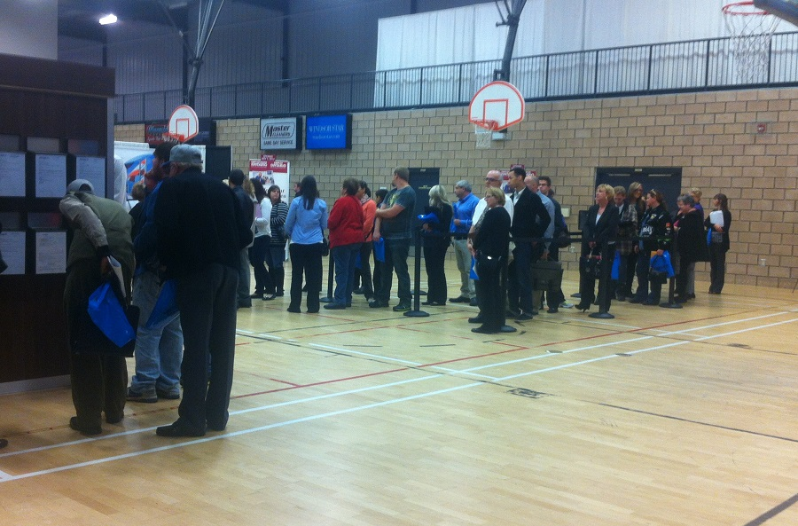 Job seekers line up during Job Day at the WFCU Centre. (Photo by Maureen Revait)