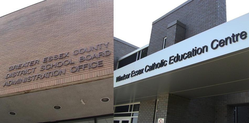 Both school board buildings in Windsor-Essex. Greater Essex County District School Board and Windsor Essex Catholic District School Board. (Photos by Mike Vlasveld)