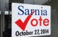Sarnia Vote Sign at City Hall (BlackburnNews.com photo by Melanie Irwin)