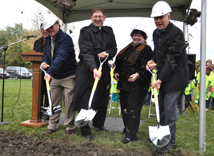 Director of Education Paul Picard, Most Precious Blood Church pastor Father Greg Bonin, Board Chair Barb Holland, and Trustee Fred Alexander. (Photo provided by the WECDSB)