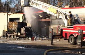 First responders gather at Veolia on Scott Rd. in Sarnia following explosion . October 25, 2014 (Blackburnnews.com photo by Sue Storr)