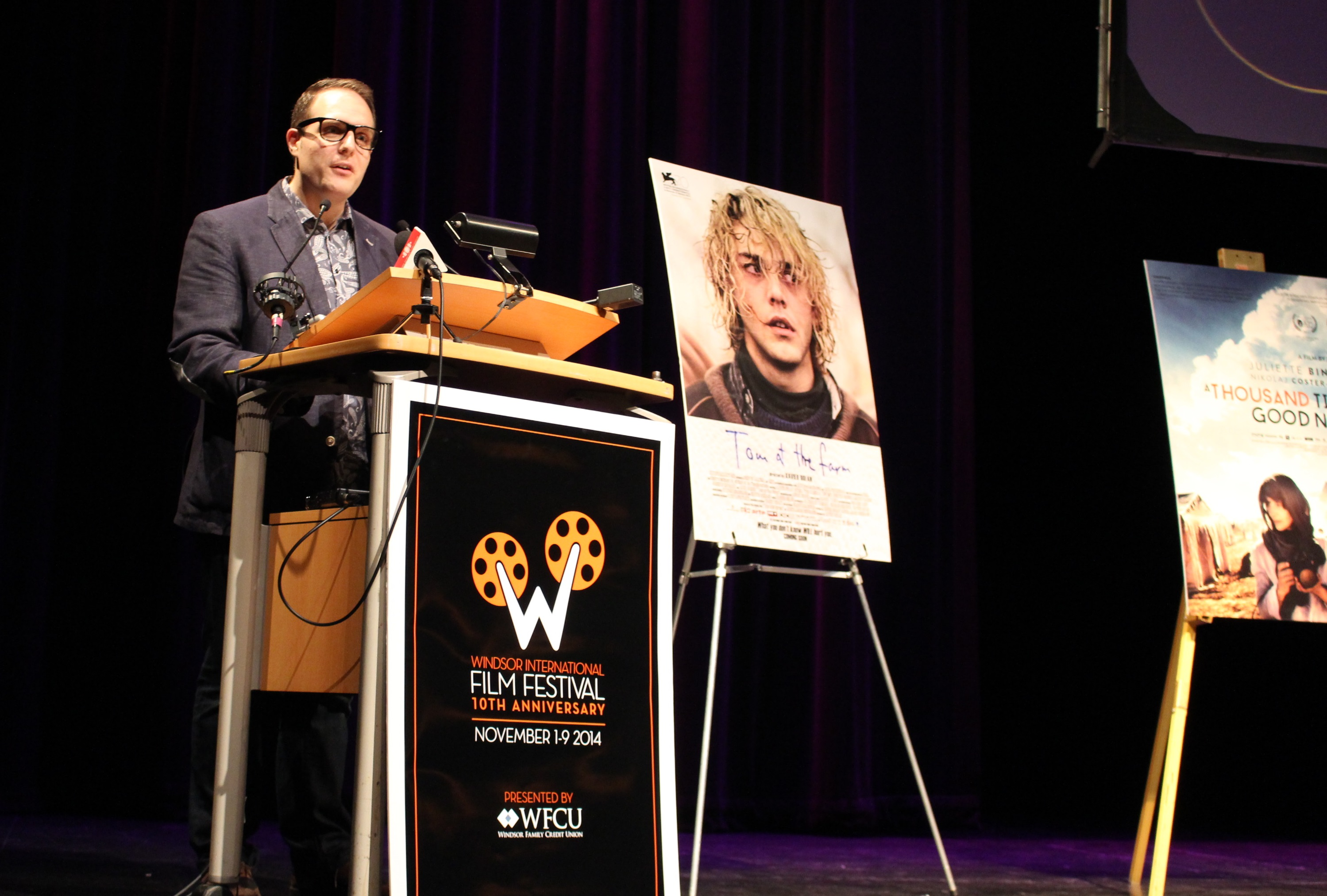 Executive Director of the Windsor International Film Festival announces the highlights of the 10th anniversary festival. (Photo by Maureen Revait)