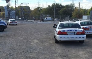 London police investigate the death of a man at a hydro station on Power St. Photo by Ashton Patis, BlackburnNews.com