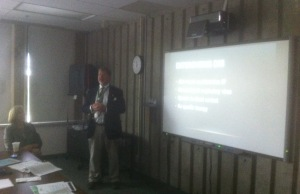 Medical Officer of Health David Colby gives a presentation on Ebola at a C-K Board of Health meeting.