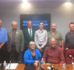 Chatham-Kent Mayoral Candidates at Blackburnnews.com's debate. Steve Brent is pictured second from left, Reno Lachapelle pictured far right