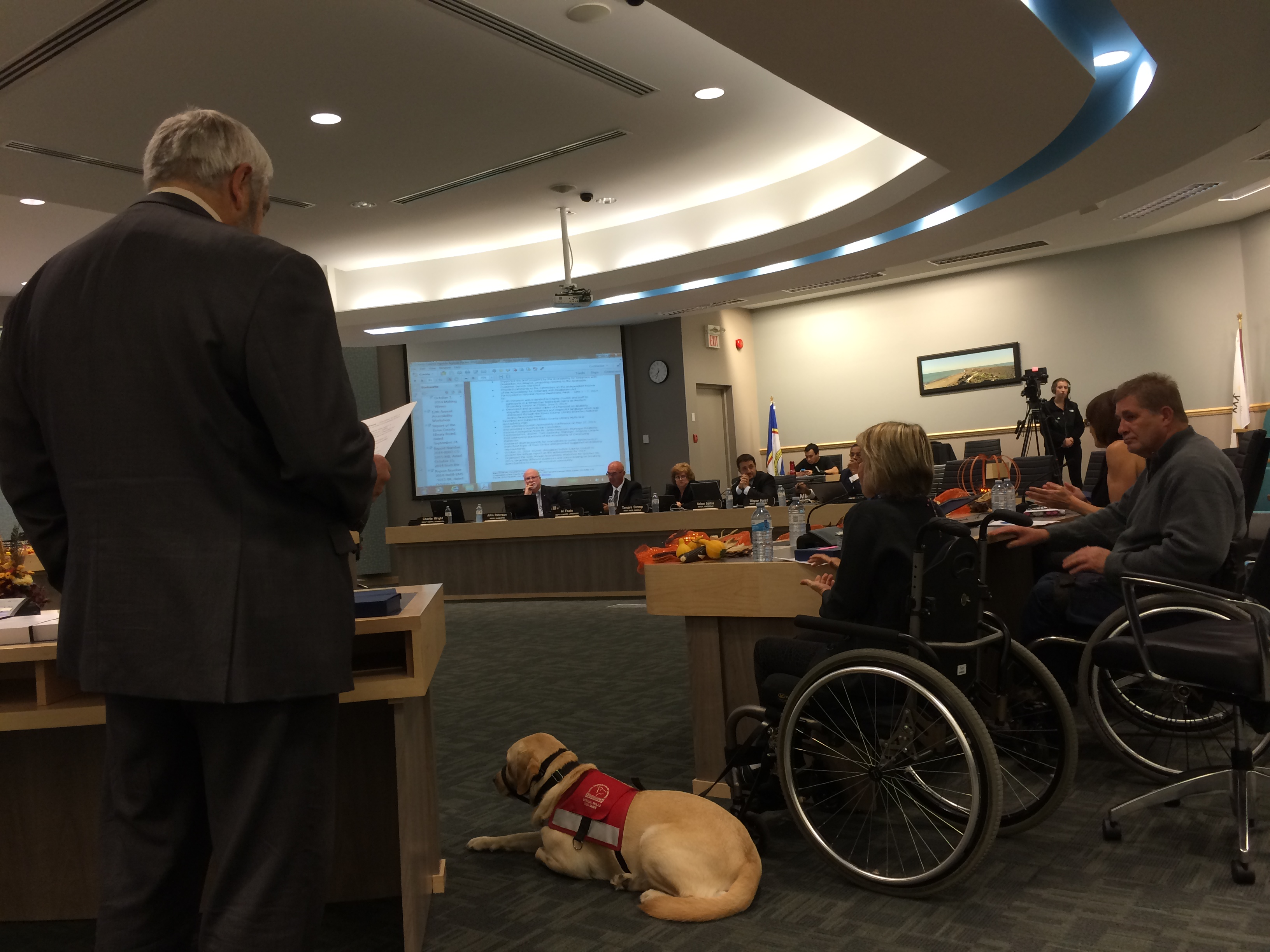 Members of the Essex County Accessibility Advisory Committee receive tokens of appreciation from Essex County Warden Tom Bain at the regular council meeting on October 15, 2014. (Photo by Ricardo Veneza)