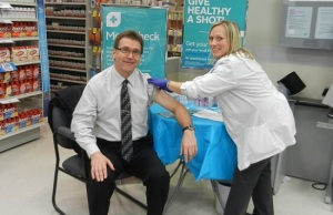 Bruce Grey Owen Sound MPP Bill Walker gets flu shot. (photo submitted)