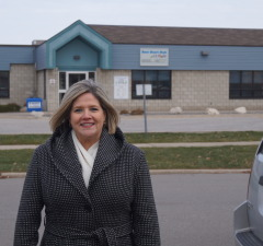 NDP Leader Andrea Horwath visits Coronation Park Day Nursery on the day it closes. November 28, 2014 (BlackburnNews.com photo by Jake Jeffrey)