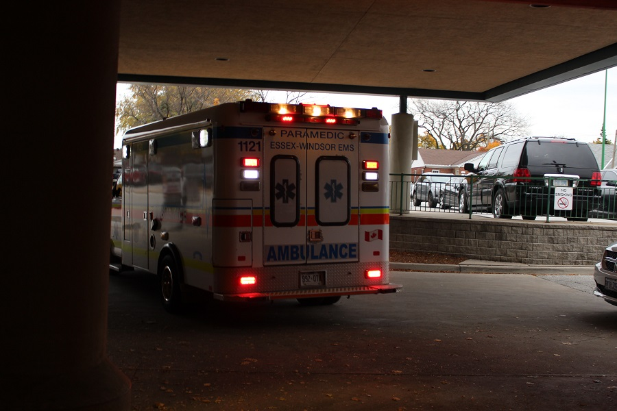 Ambulance backing into the Emergency Department at Windsor Regional Hospital- Met Campus. (Photo by Maureen Revait)